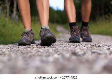 Closeup of hiking boots in outdoor action