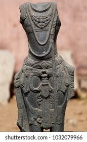 Closeup of Hindu Goddess ,ancient stone sculpture ruins in pillala marri ,Telangana,India
