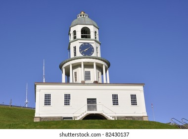 closeup of the  historic town clock in Halifax Nova Scotia Canada, blue clear sky in the background