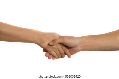 Closeup hold hands on a white background.