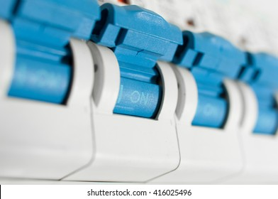Closeup of a home automatic fuse switches.