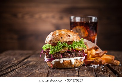 Close-up of home made burger