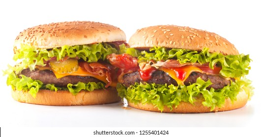 Close-up of home made burgers on whiote background isolated closeup