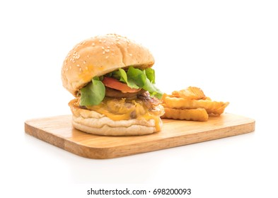 Close-up of home made fresh tasty burger isolated on white background - unhealthy food