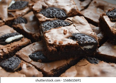 Close-up of Home made Oreo brownies on a plate