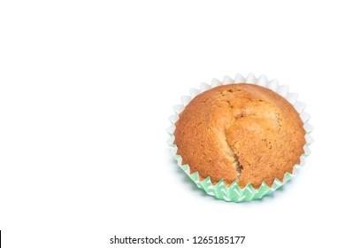 Closeup homemade banana muffin on white background