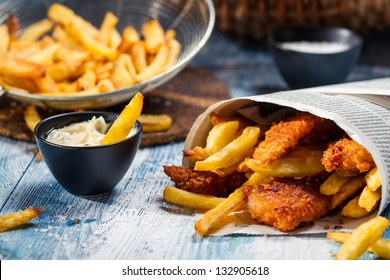 Closeup of homemade Fish & Chips