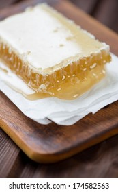 Close-up of honeycomb, vertical shot