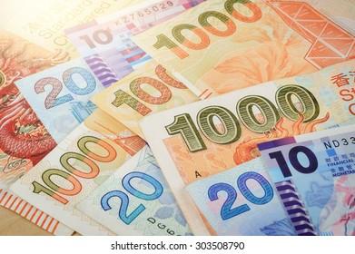 closeup Hong Kong Dollar bills