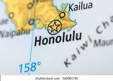 Closeup of Honolulu, Hawaii on a political map of the United States.