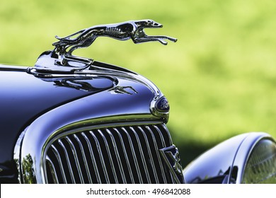Closeup of Hood Ornament of Vintage Car During Daytime at New Albany, Ohio - September 29, 2016.