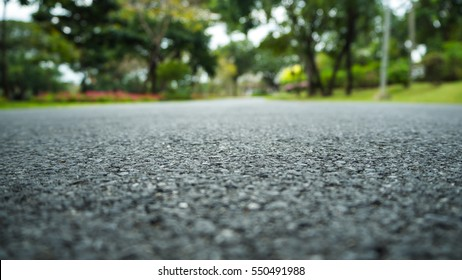 close-up horizontal view of new asphalt road natural background.