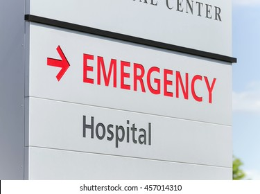 Closeup of a hospital emergency sign