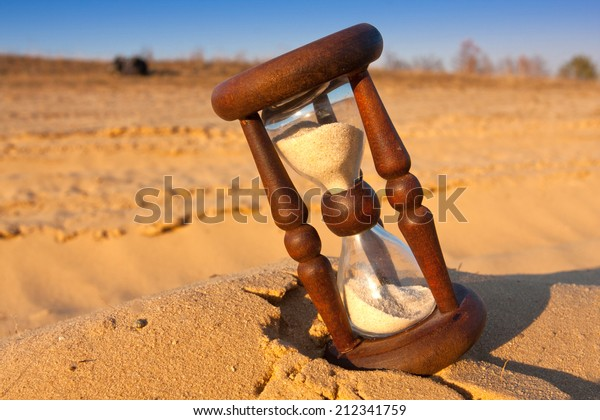 Closeup of hourglass on the sand
