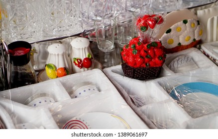 Closeup of household or kitchen ware or  fancy items in display of a retail shop,in the market
