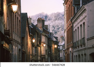 Closeup of houses of the old city centre in Honfleur, Normandy, France