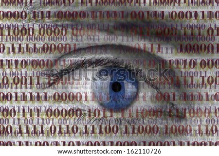 Closeup of human eye with digital binary code. Concept of internet spying.