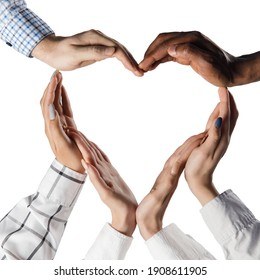 Close-up human hands making shape of heart isolated over white background
