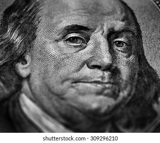 Closeup of hundred dollar bill money cash isolated on Franklin portrait