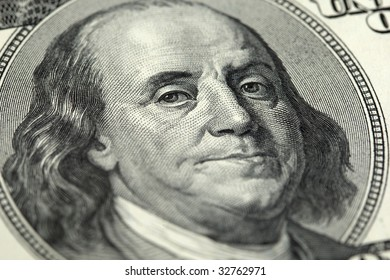close-up of a hundred US Dollar banknote with   Benjamin Franklin