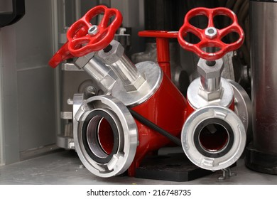 The close-up of hydrant and water hoses