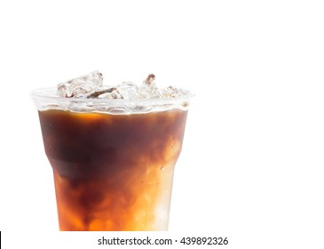 Closeup ice of americano on white background, Ice coffee