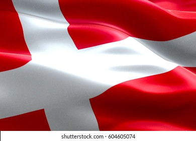 closeup of illustration waving dannebrog denmark flag, with red background and white cross, national symbol of danish sign