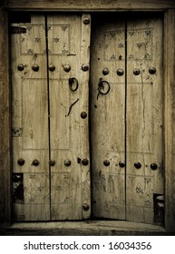 close-up image of ancient doors