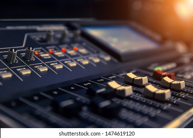 Close-up Image of AV Mixer Control in  Sound editing room.