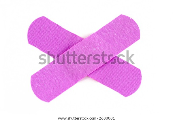 Closeup image of a bandage with white background