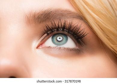 Closeup image of beautiful woman eye with makeup looking up