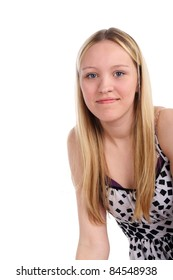 closeup image of the beautiful young blond smiling girl