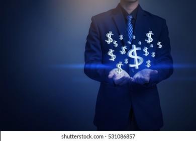 Closeup image of Businessman hand holding money, business concept
