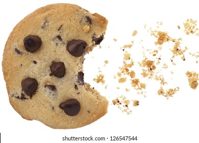 A close-up image of chocolate chip cookies with bite over the white background