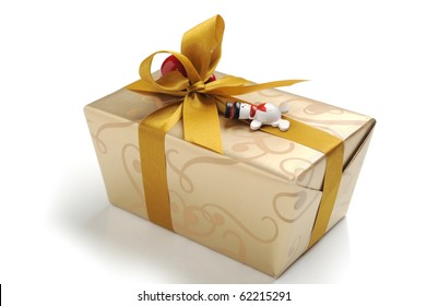 Close-up image of a Christmas gift studio isolated on white background