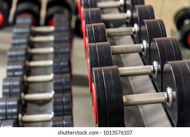 Closeup image of chrome dumbbells