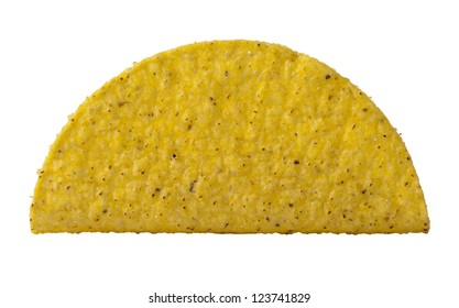 Close-up image of a crispy taco shell against the white surface