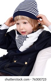 closeup image of a cute little child in the warm clothes