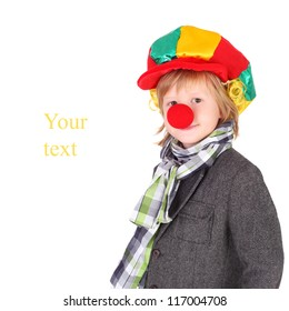 closeup image of the cute little clown boy