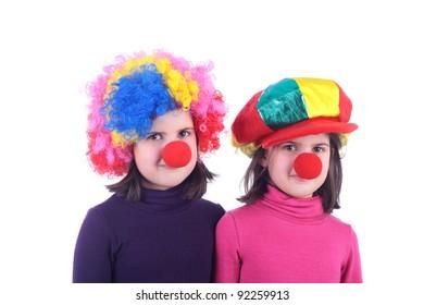 closeup image of the cute little clowns