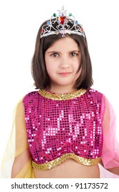 closeup image of the cute little girl in the eastern beauty costume