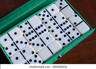 Closeup image of dominos set inside an open case before game starts.