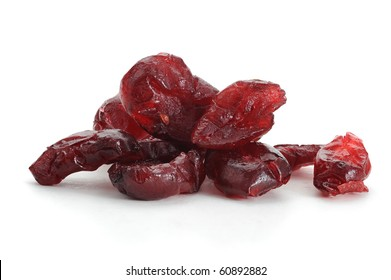 Close-up image of dry cranberries studio isolated on white background