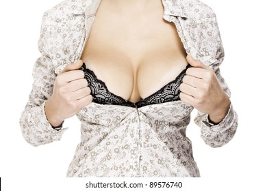 closeup image of a female with big sexy breast in shirt