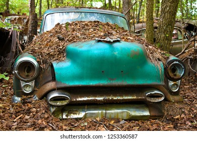 Close-up Image of the Front of an Old Scrap Car in a Junk Yard