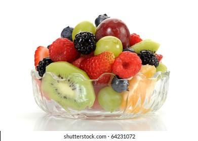 Close-up image of a fruit salad studio isolated on white background
