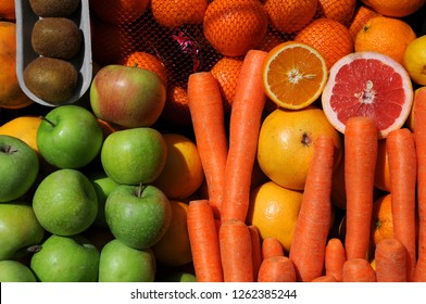 Closeup image of fruits and vegetables in the market