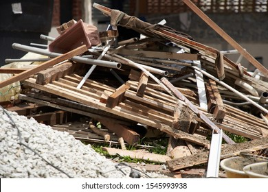 closeup image of a garbage dump at a renovation construction site
