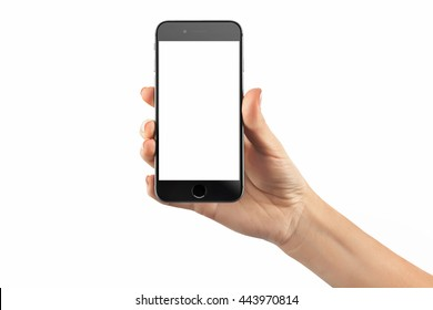 Closeup image of hand with a black cellphone with white screen at isolated background.