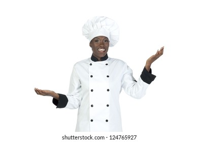 Close-up image of a happy female chef with hands up isolated on a white background